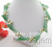 Pearl&Aventurine Flower&Crystal Necklace