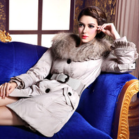 Free shipping winter 2013 high quality slim medium-long female large fur collar down coat ruffle outerwear