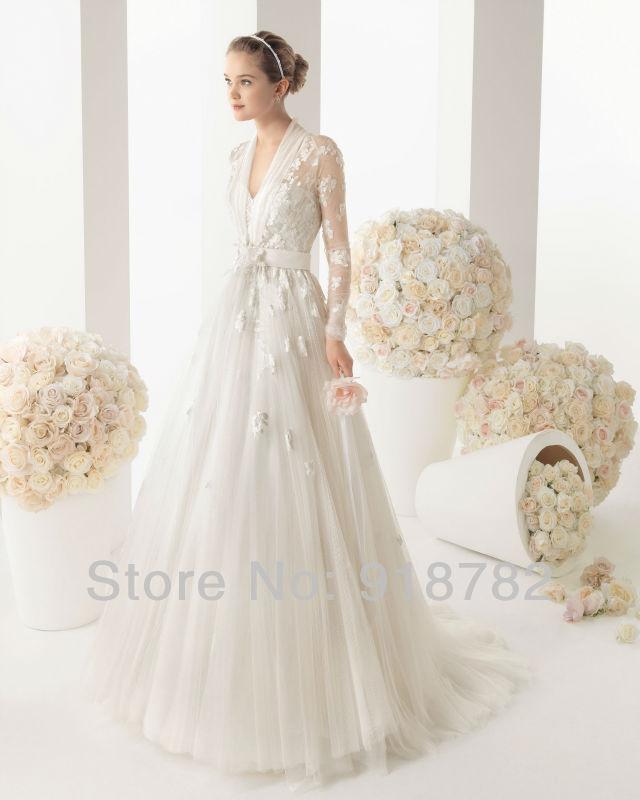 2013 New Arrival Custom Made Elegant Unusual Autumn White Flowers Tulle Muslim Long Sleeve Wedding Dress 2013(China (Mainland))