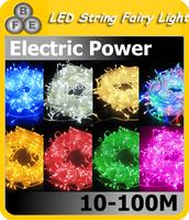 Free Shipping Holiay Outdoor RGB 100 LED String Lights10M 220V EU plug Christmas Xmas Wedding Party Decorations Garland lamps