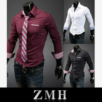 Free Shipping 2013 Mens Slim fit Unique neckline stylish Dress long Sleeve Shirts Mens dress shirts 6colors size: M-XXL