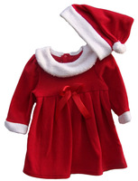 2013new chilren one-piece Christmas dress Christmas hat+dress 100% cotton girls princess dress autumn winter free shipping