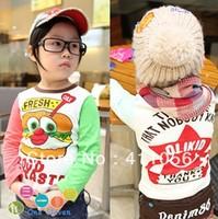 2013 autumn children's clothing hamburger male female child baby long-sleeve T-shirt 2773 basic shirt