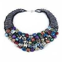 Free ship!!!!!Rainbow Treasures Mix Stone Statement Necklace