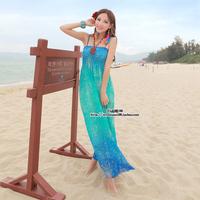2014 Bohemia full dress chiffon suspender one-piece dress beach resort tube top dress