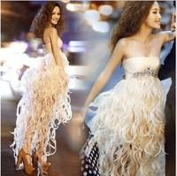 new fashion sexy banquet dress feather high low asymmetrical bridesmaid dresses 2015 vestido de festa free shipping