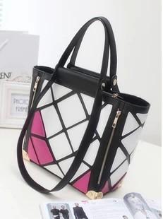 Bags vintage bag patchwork bag fashion messenger bag mesh color block formal handbag