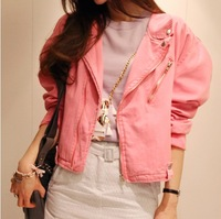 2013 autumn personality zipper female motorcycle jacket candy color long-sleeve short design denim outerwear