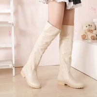 Boots spring and autumn 2013 over-the-knee boots gaotong beige leather boots