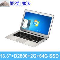 A133 Aluminum alloy Laptop 13.3inch Dual core, RAM 2GB SSD 64GB, Intel D2500, ultral slim notebook ultrabook