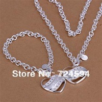 Free Shipping!!New Fashion 925 Sterling Silver Two Hearts pendant Necklaces Set JS100