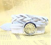 5 Color Quartz Fashion Weave Around Leather Bracelet Lady Woman Wrist Watch