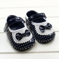 CL0193 Cute First Walk Baby Shoes, Non-slip Baby Shoes With Bow Deep Bule PU Baby Shoes, 3 Size