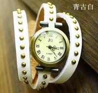 7 colour Ladies' Fashion Wristwatches Square Rivet Watch Quartz Movement 3 Round Casual Rivet Watches Airmail Free Shipping