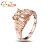 2.42ct VS 7x9mm Emerald Morganite Pave Diamond Real 14k Rose Gold Engagement Ring