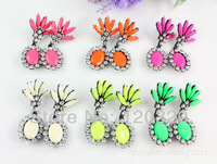 Wholesale 6 Pairs Fashion Gorgeous Color Resin Gem Stud Cuff Earrings