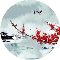 Free shipping magpies red plum blossom painting waterproof and sunshade dance props collection and gift oiled paper umbrella