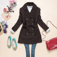 2013 New Fashion Women's Slim Fit Double-breasted Trench Coat Casual long Outwear Black, Brown, Gray free shipping 3376