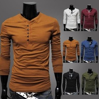 Free Shipping New Men's Shirt Solid color male basic shirt handsome single breasted slim long-sleeve round neck T-shirt 2563