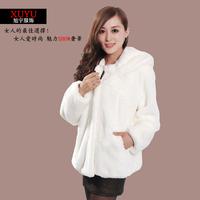 Autumn and winter fur coat 2013 plus size female long-sleeve short design  rex rabbit hair  faux fur coat