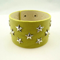 Min order $15 personalized fashion punk  star leather bracelet