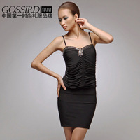 2013 formal dress slim sexy hip dress fashion black evening dress short design 1068