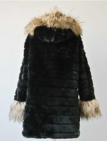 New 2013 Free Shipping New Design autumn -summer Faux Raccoon Fur Collar Faux Rabbit Fur Coat Women Fur Vest  Long Design Coat