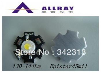 20pcs/Lot 1w/3W high power led with heatsink Aluminum Plate high lumen 130-144Lm