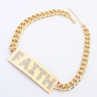 "Free Shipping! 2014 Autumn New Style Thick Gold Tone Metal Urban Chain Rhinestone""FAITH"" Letters Pendant Necklace #99555"
