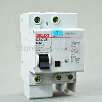 DZ47LE 1 p + N C32 10A-50A  AC 230 v household air leakage protection circuit breaker switch delixi electric leakage switch