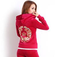 free shipping Velvet sports set female gold velvet sportswear set Women spring and autumn sweatshirt casual set female