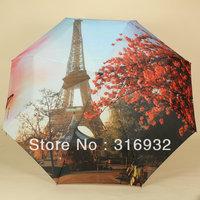 Fashion oil painting umbrella Eiffel Tower  three folding ultralarge automatic umbrella