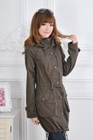 13 spring and autumn women's medium-long slim waist slim 100% olive cotton zipper female trench