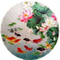 Free shipping fish and lotus oiled paper umbrella dia 84cm anti-rain and anti-UV umbrella
