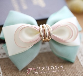 princess sweet lolita Fresh quietly elegant beach silk yarn double layer bow side-knotted clip hair accessory hair pin a178