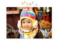 Free Shipping 2013 Winter Warm Baby Lovely Rabbit Hat Fashion Kid's Ear Pretect Animal Hat Children Cap For Winter Hot Sale