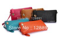 2013 women's genuine leather handbag small bag vintage pratical knitted rivet day clutch messenger bag 5 colors free shipping