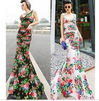 2014 Europe fashion women's flower floral print sexy V-neck slim hip fish tail sexy full length dress formal dress maxi long
