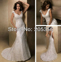 Free Shipping custom-made high quality lace sheath sweetheart v-back zipper and button back luxury sexy elegant wedding dresses