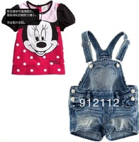 New Arrival ! Summer Girls Cute Minnie Dot Short-sleeved T-SHIRT + Jeans suspender pants Children's Casual Suit,Free shipping