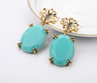 2013 new products sky blue alloy gem women earring fashion exaggerated drop earring free shipping