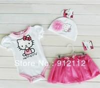 Free shipping !HelloKitty Baby Girls three-piece suit(Short sleeve Romper + Flowers hat + TUTU skirt) Kids Summer Clothing,5SET/