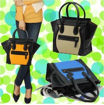 2015 New Arrival Classic Designer Women Smiley Bag Female Panelled Textured Shoulder Bags Purse Tote Handbag WE-A7