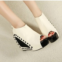 Free shipping Fashion color block 2013 rivet decoration wedges high-heeled shoes open toe boots female shoes