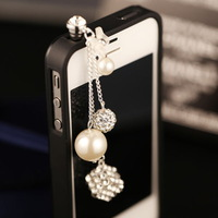 New Super Cute Crystal Korean Pearl Ball Phone Anti Dust Plug 3.5mm Earphone Ear Jack Cap  DIY Jewelry Wholesale Free Shipping