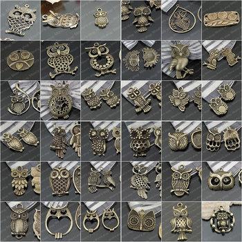 Wholesale Height 14-50mm Antique Bronze Owls Alloy Charms Pendants Randomly mixed 60 pieces(JM3619)