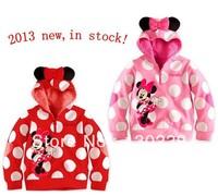 2013 new Autumn 5pcs/lot Bow Minnie baby girls cartoon long sleeve hoodies jackets children's sweatshirts fashion outerwear