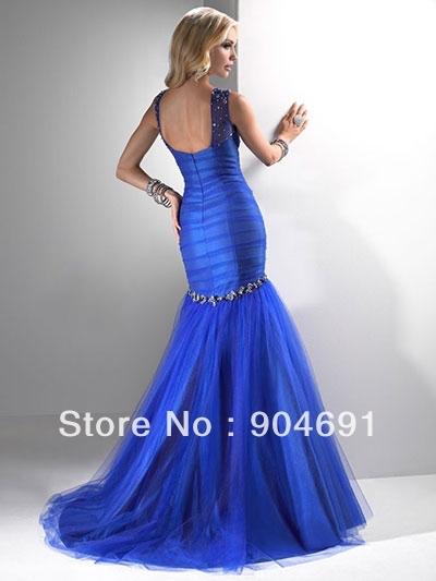 Mermaid Wedding Bridesmaid Dress Long Royal Blue Beaded Boat Neck