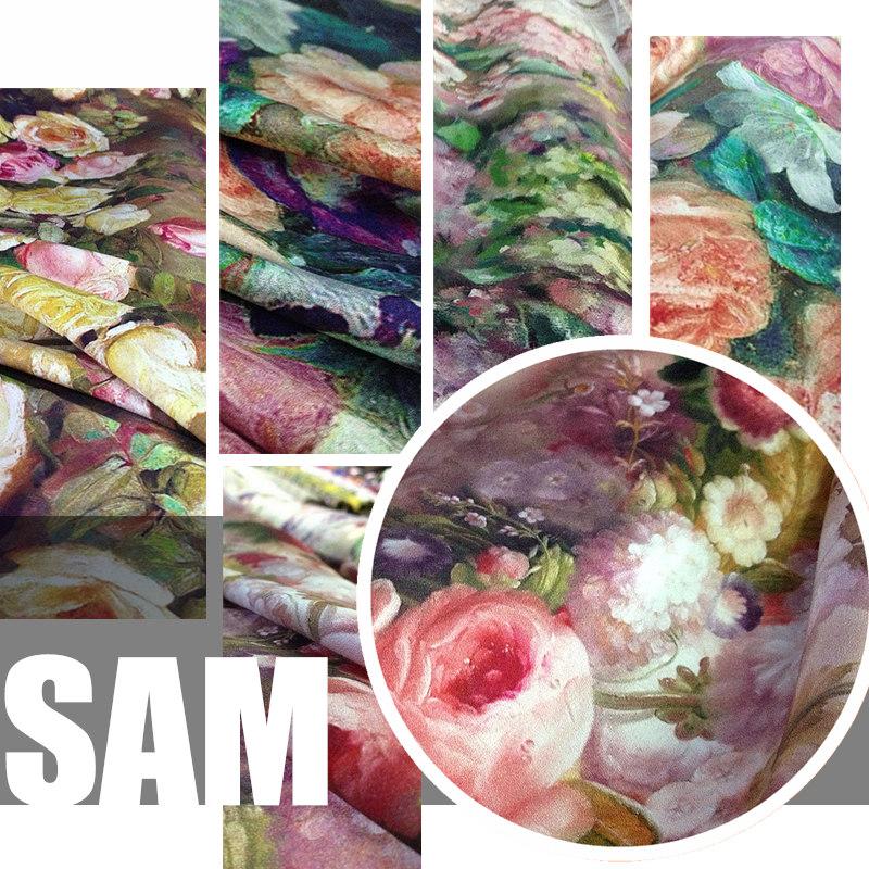 Flowers High Quality Digital Printed 100%Silk Elastic Silk Material Cheongsam Dress Fabric Factory Direct Sale Wholesale Retail(China (Mainland))