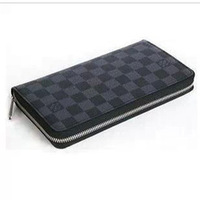 Male women's wallet long zipper design day clutch checkerboard palid genuine leather folder male women's handbag